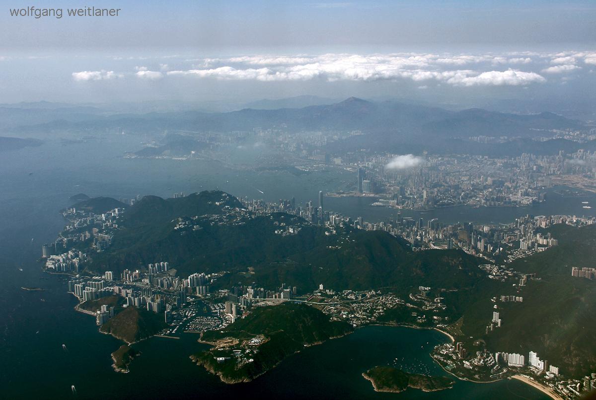 Hongkong aus dem Flugzeugfenster, Hongkong, China