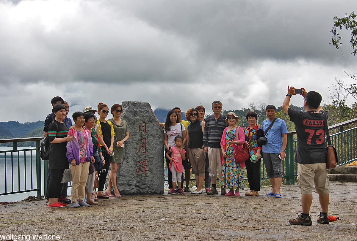 Posing für ein Gruppenbild, Sonne-Mond-See, Tawian