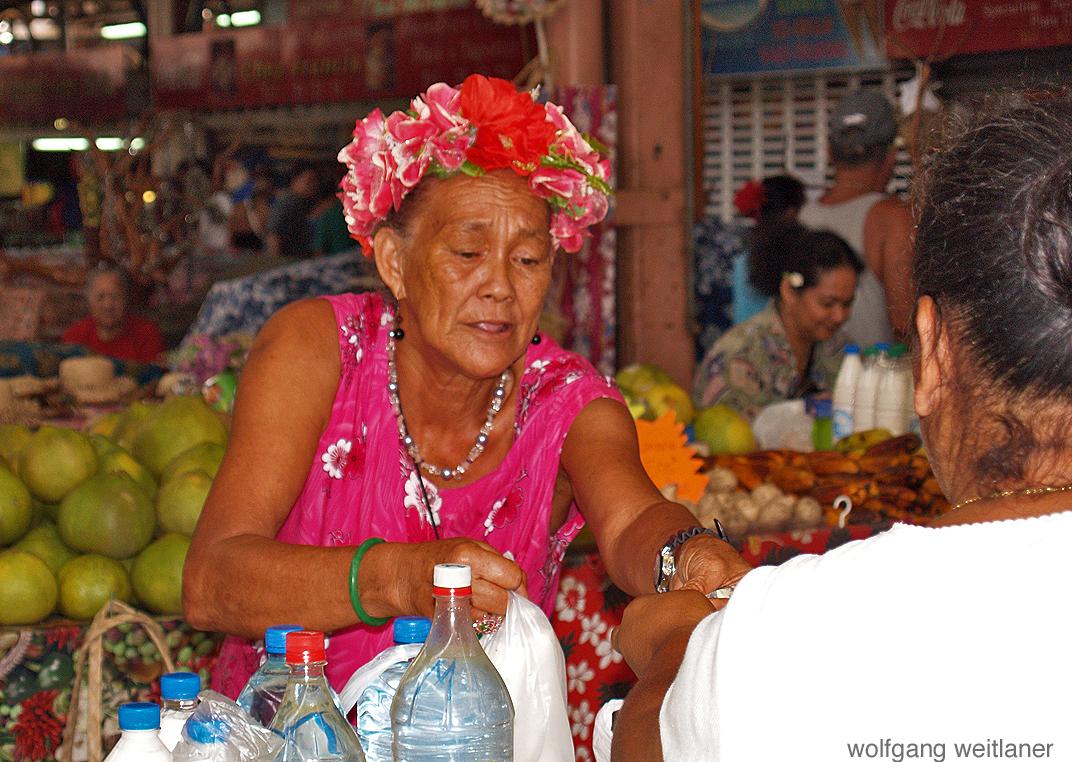 Marktfrau, Zentralmarkt, Papeete, Tahiti