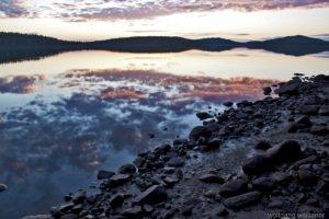 Sonnenuntergang Gallejaur, Västerbotten, Nord-Schweden