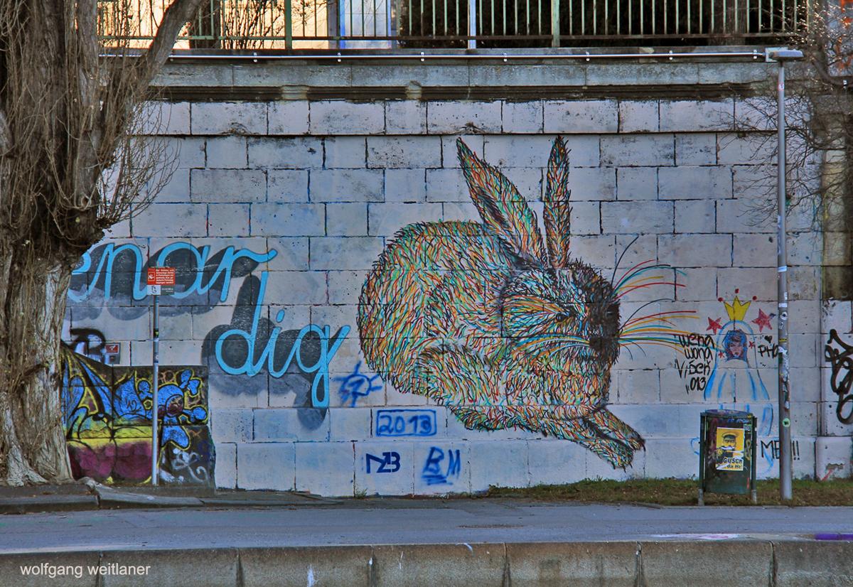 Dürers Hase, Graffiti am Donaukanal, Wien