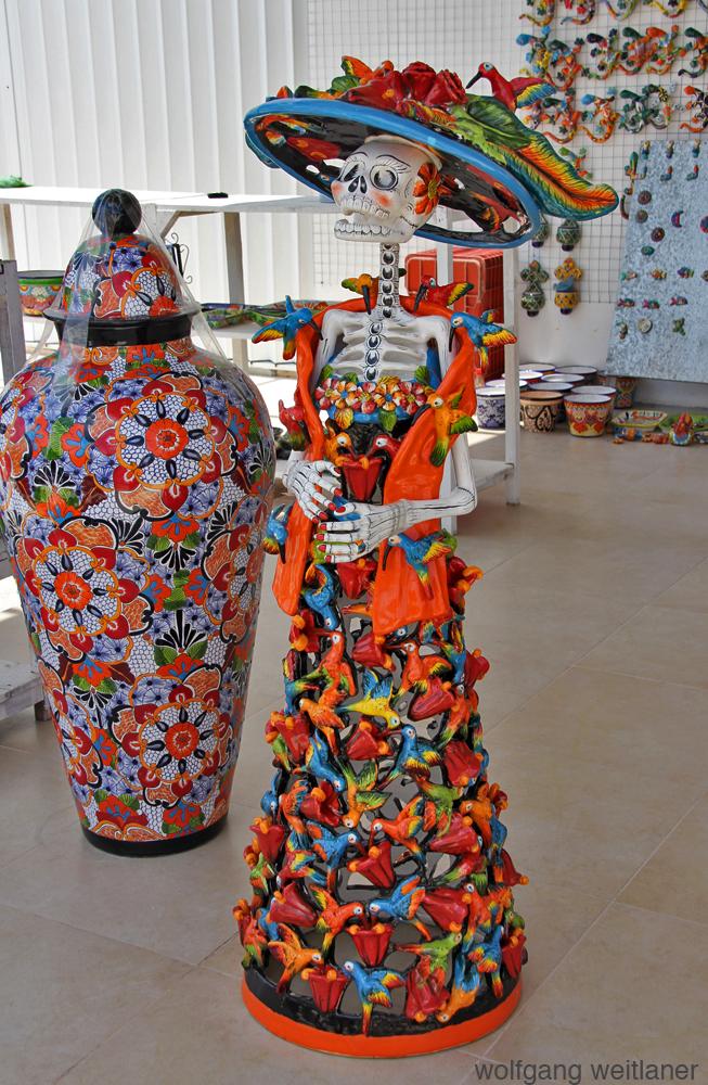 Figur mit Tod, Playa des Carmen, Quintana Roo, Mexiko