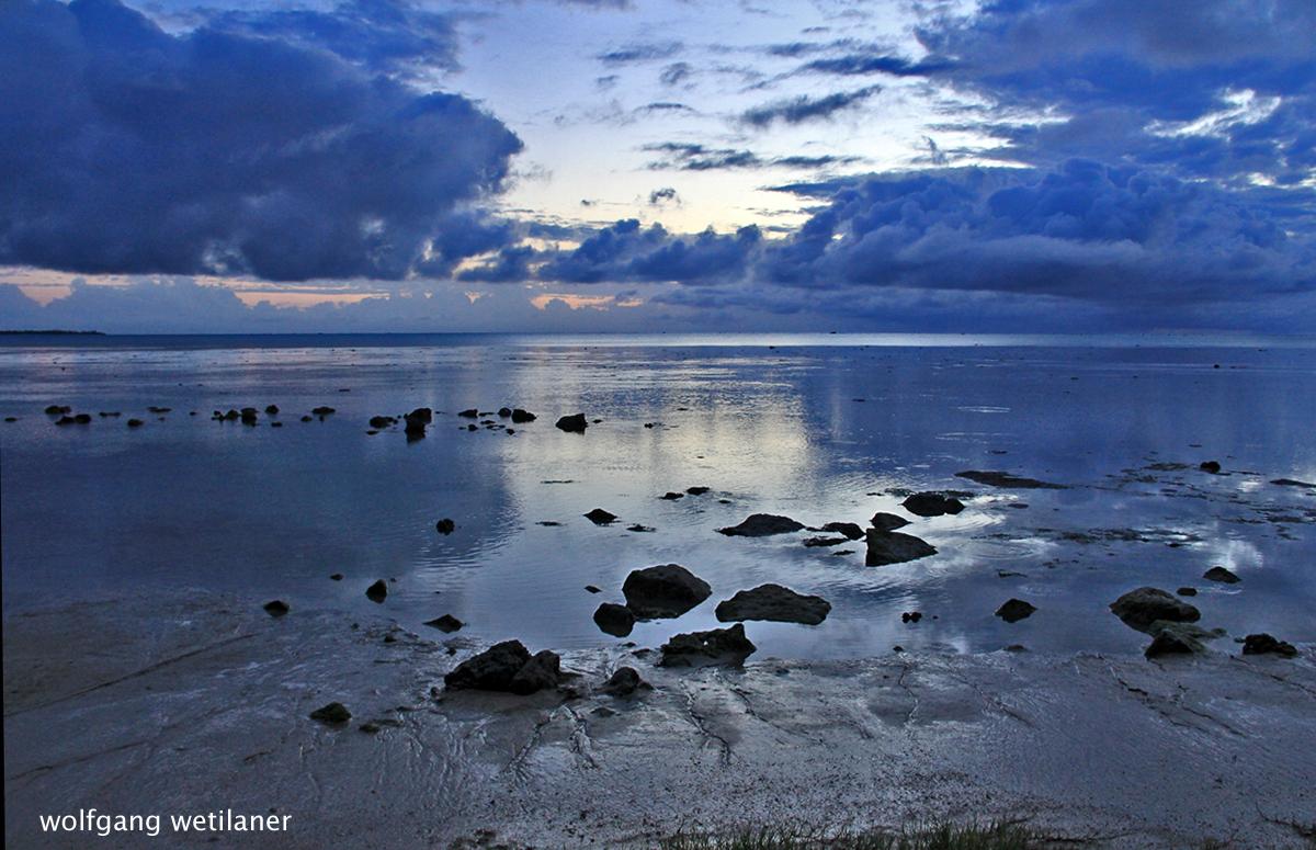 Sonnenuntergang über der Lagune, Aitutaki, Cook Inseln