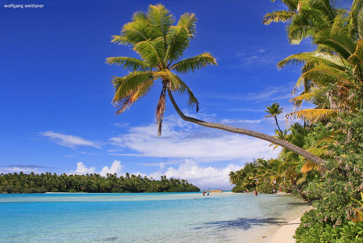 Farbenspiel in der Lagune von Aitutaki, Cook Inseln, Südsee