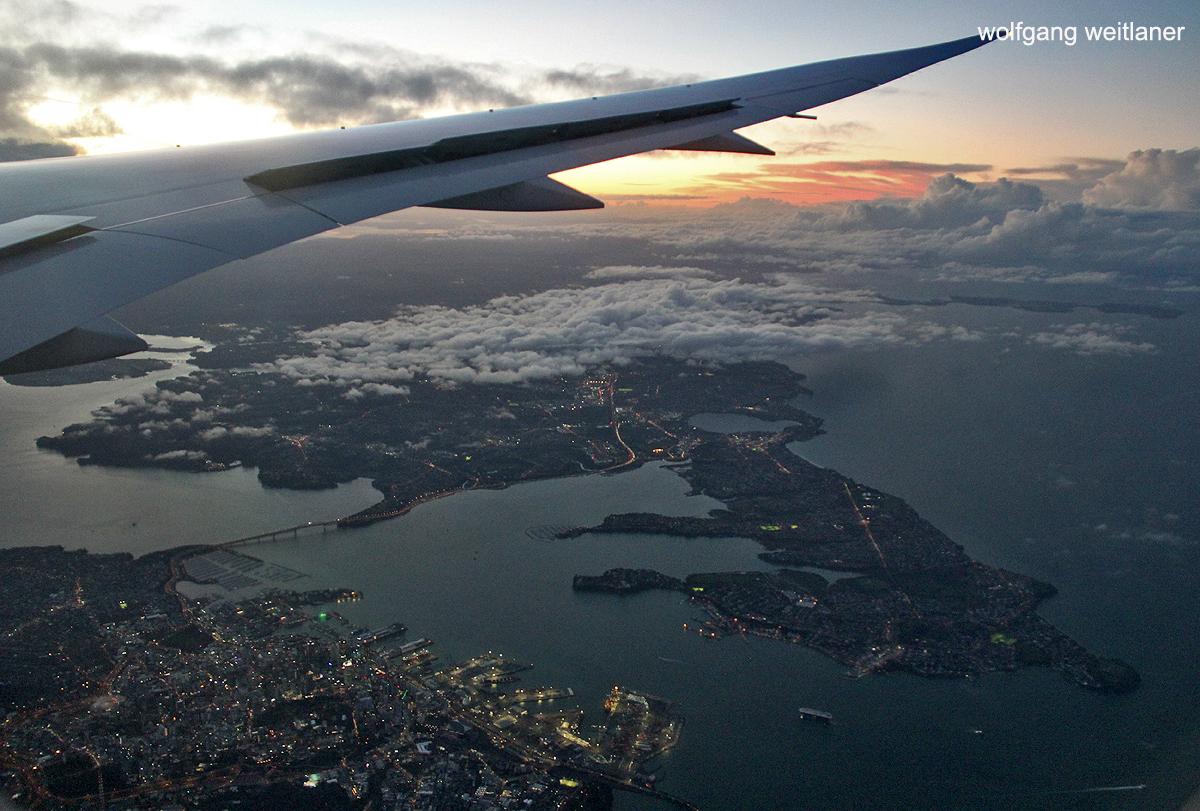 Anflug auf Auckland Airport