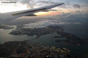 Die Welt von oben: Landeanflug auf Auckland, Neuseeland