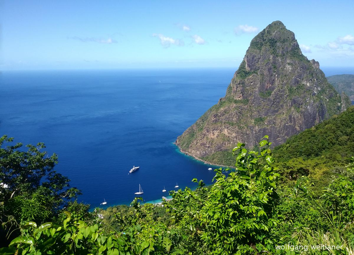 Blick auf den Gros Piton, St. Lucia, Karibik