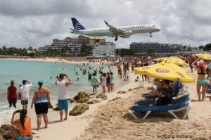 Landeanflug Maho Beach, Princess Juliana Airport SXM, Sint Maarten