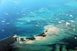 Great Harbour Cay, Bahamas aus dem Flugzeug